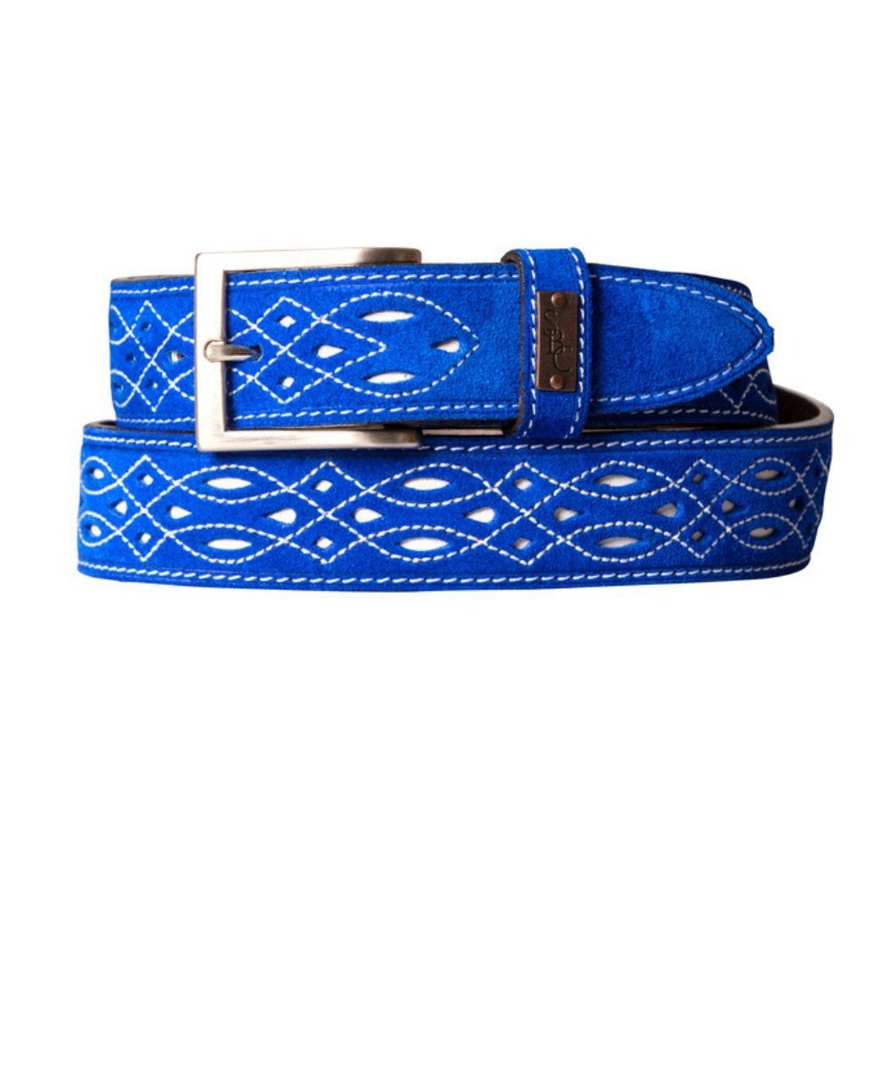 The Spanish Boot Company Belts Spanish Suede Belt: Cobalt