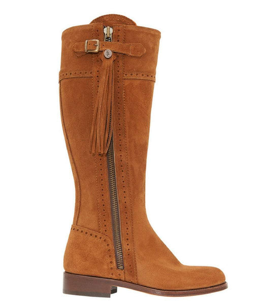 The Spanish Boot Company Leather boots Spanish Riding Boots classic: Camel SUEDE (leather sole) WIDE FIT