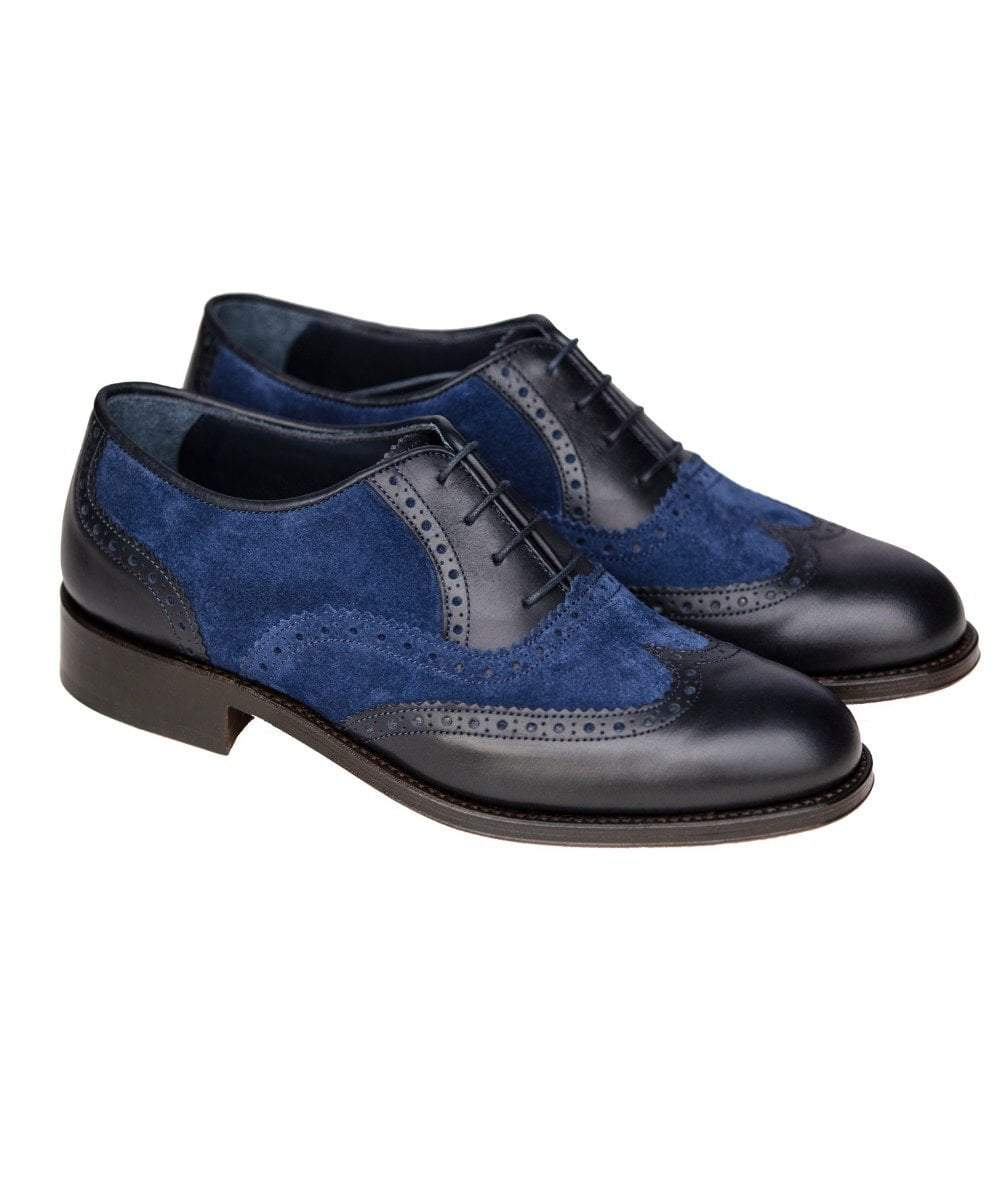 The Spanish Boot Company shoes 41/UK 7.5 - 6wks to order Mens Brogues: navy leather & suede