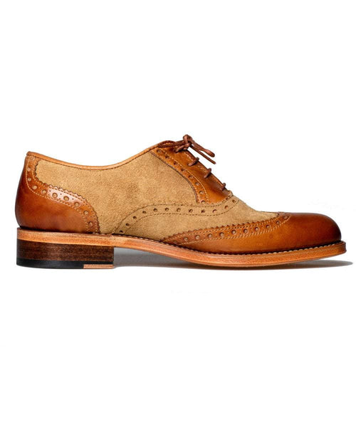 The Spanish Boot Company shoes Mens Brogues: tobacco & cream