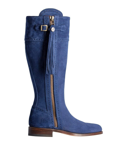 Spanish Riding Boots classic: Navy SUEDE (leather sole) WIDE FIT