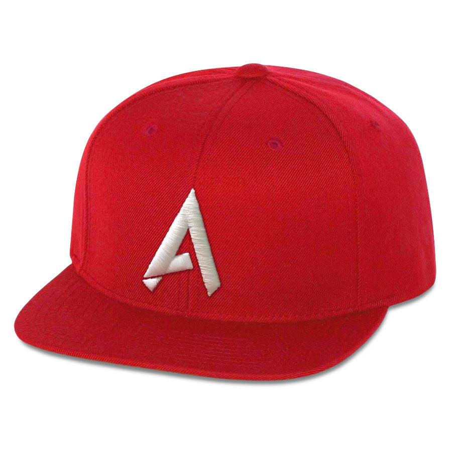 Apex 6 Panel Snapback Hat - Wht on Red