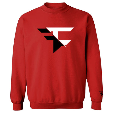 5050 Crewneck - BlkWht on Red