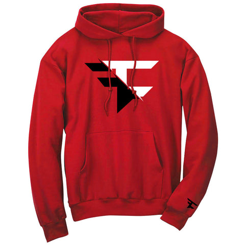 5050 Hoodie - BlkWht on Red