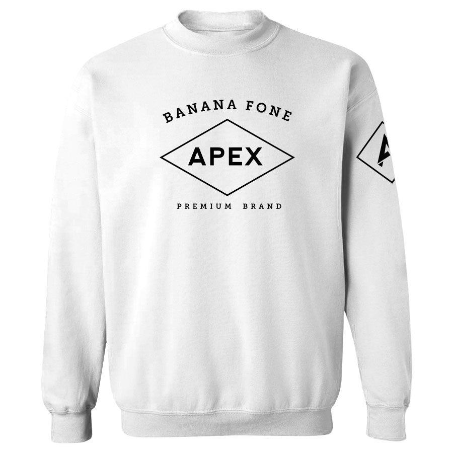 Apex Diamond Crewneck - Blk on Wht