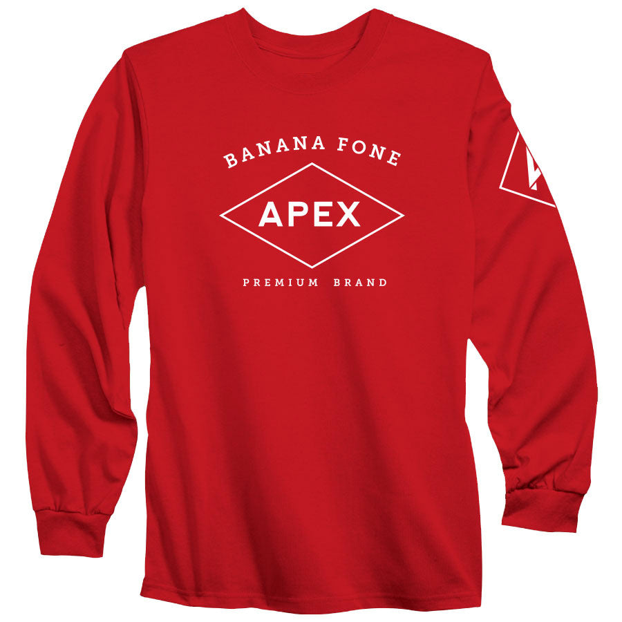 Apex Diamond Long Sleeve - Wht on Red