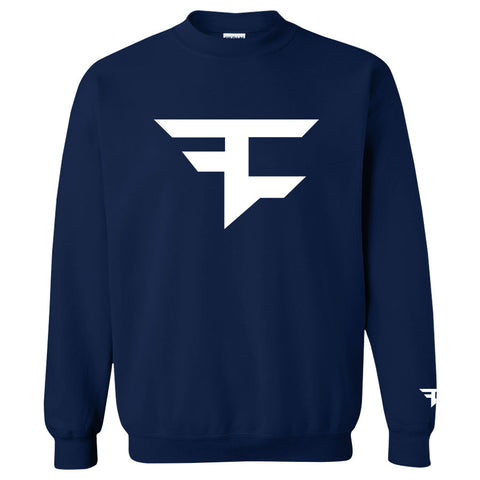 Iconic Crewneck - White on Navy