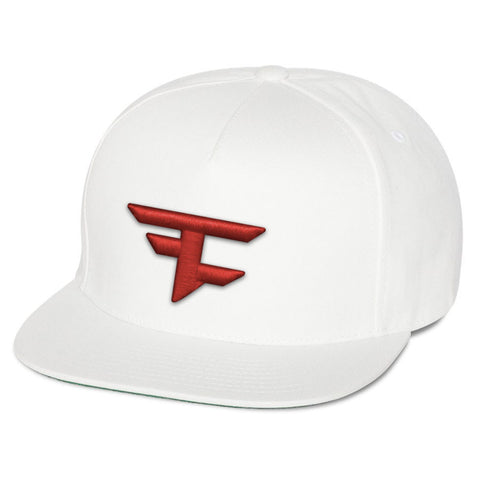 5 Panel Snapback Hat - Red on Wht