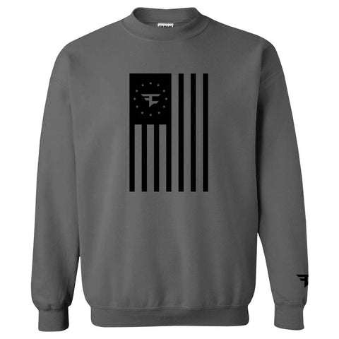 Flag Crewneck - Black on Charcoal