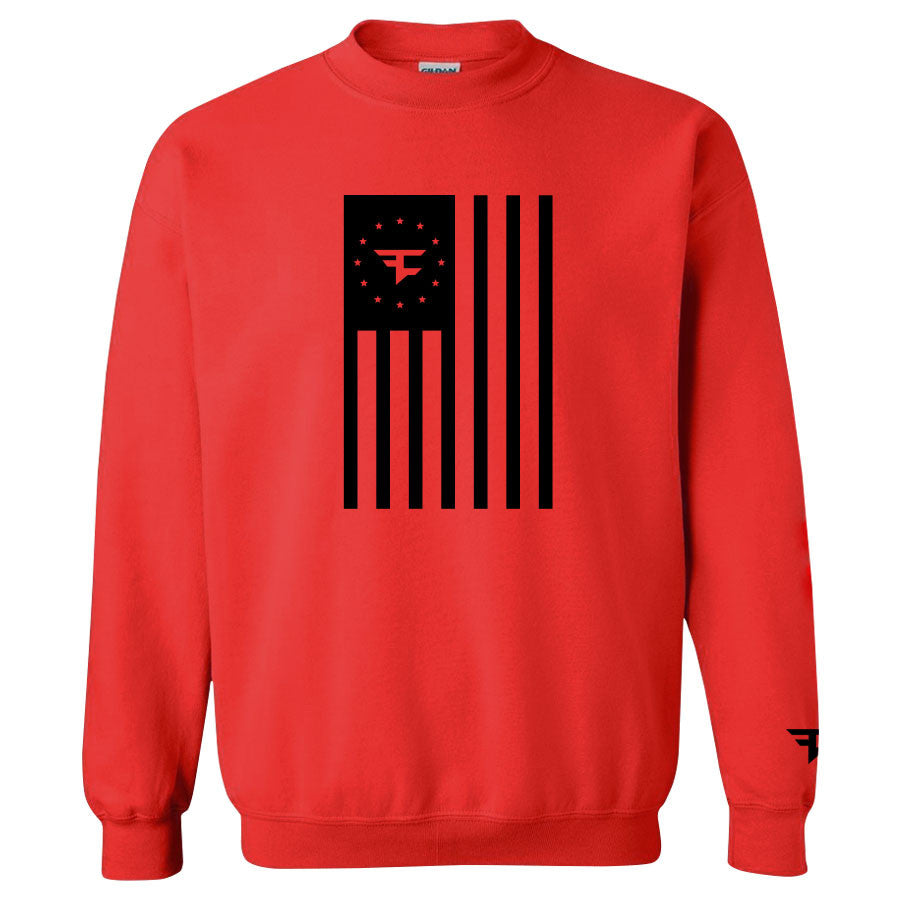 Flag Crewneck - Black on Red