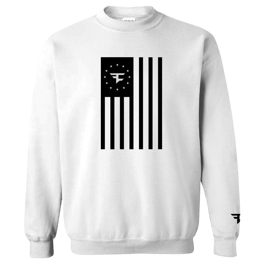 Flag Crewneck - Black on White