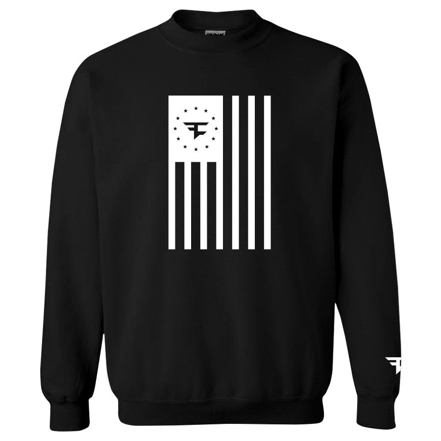 Flag Crewneck - White on Black