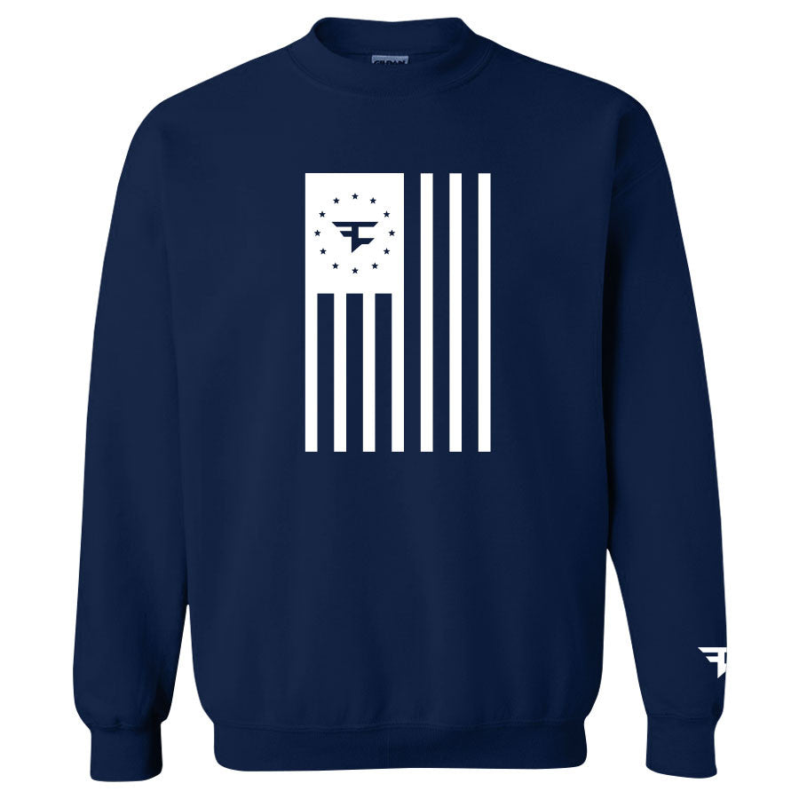 Flag Crewneck - White on Navy