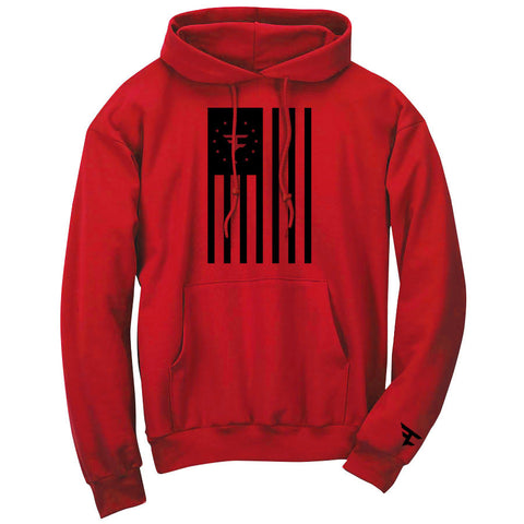 Flag Hoodie - Blk on Red