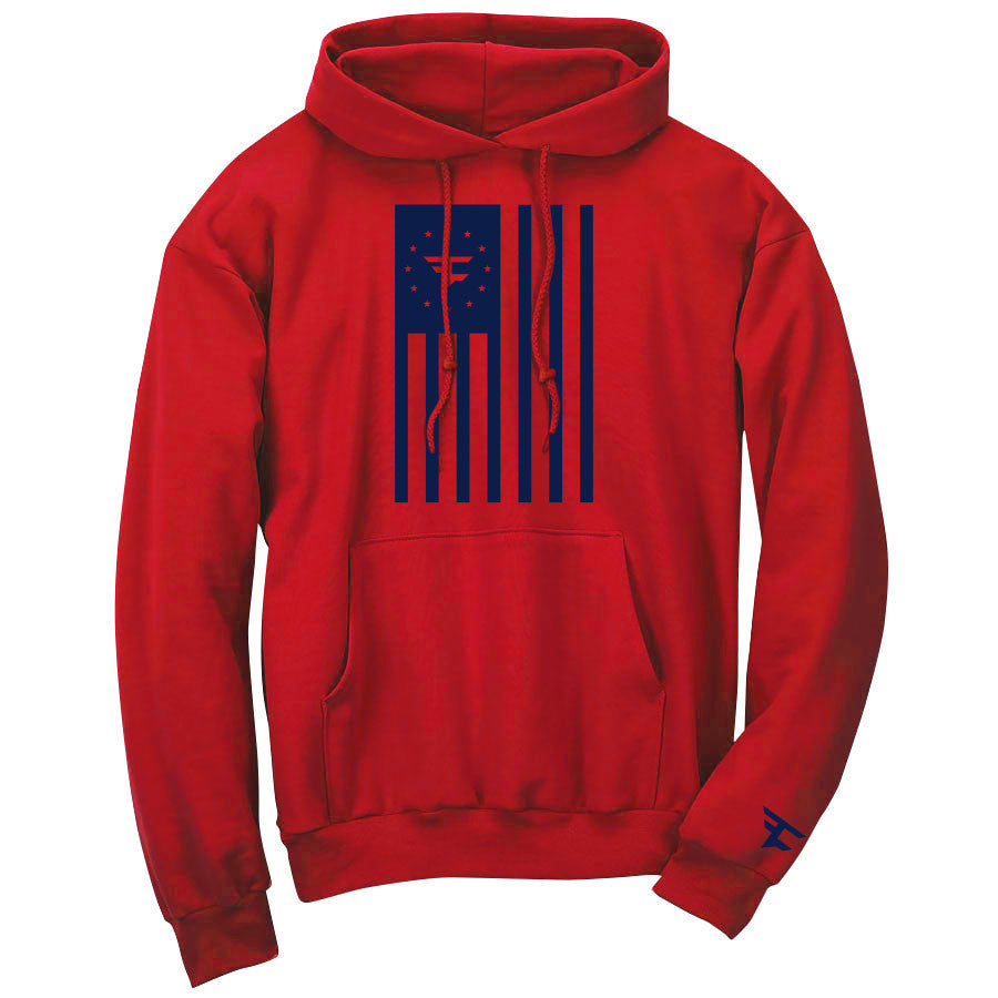 Flag Hoodie - Nvy on Red