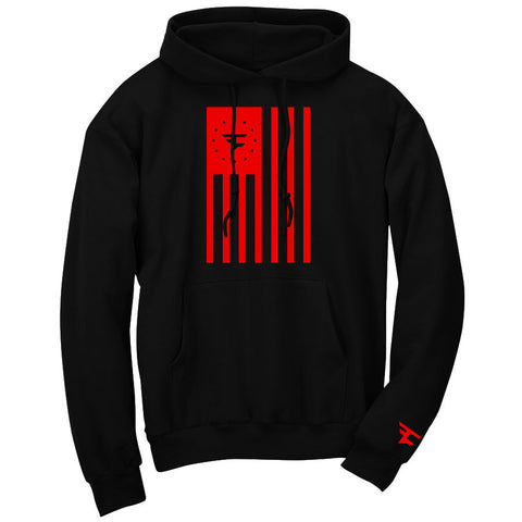Flag Hoodie - Red on Blk