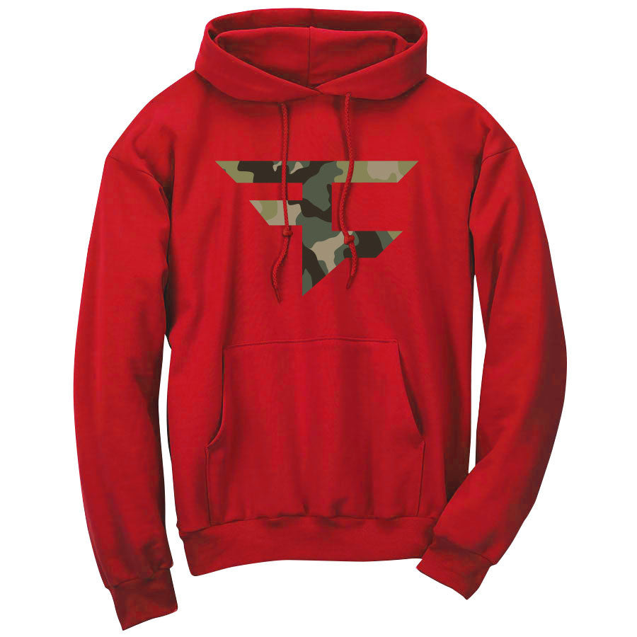 Iconic Hoodie - Camo on Red