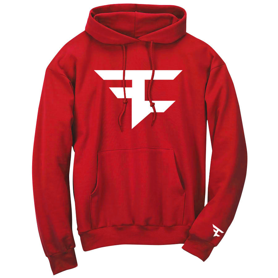 Iconic Hoodie - Wht on Red