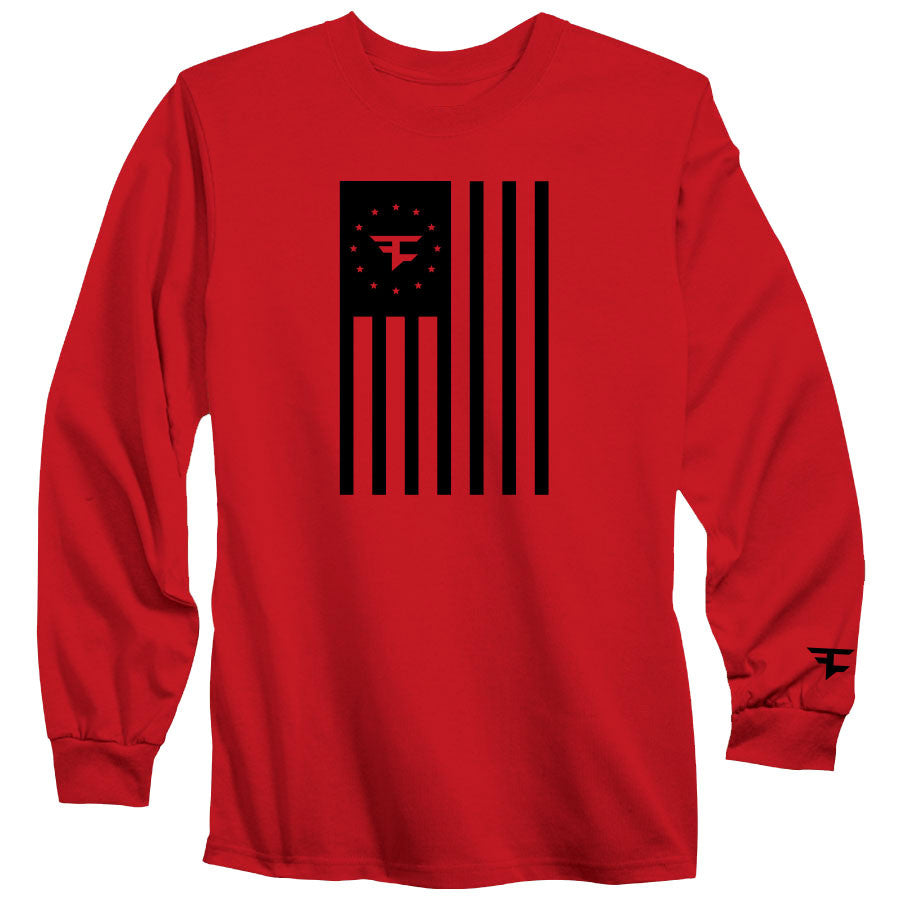 Flag Long Sleeve Tee - Blk on Red
