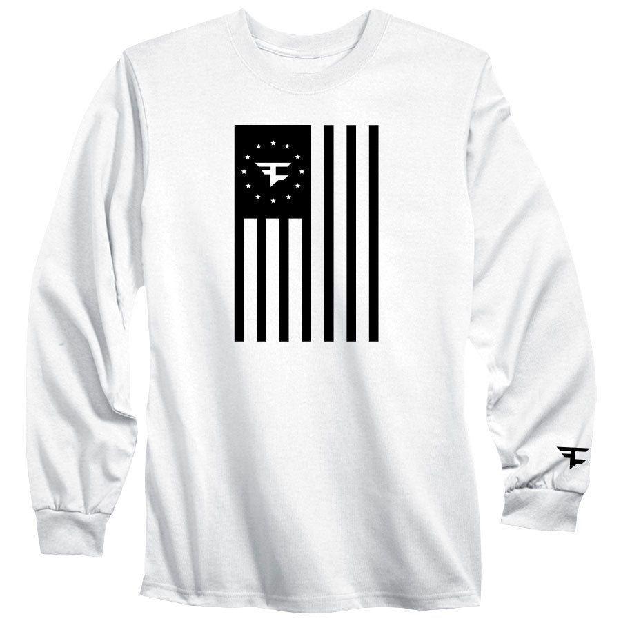 Flag Long Sleeve Tee - Blk on Wht