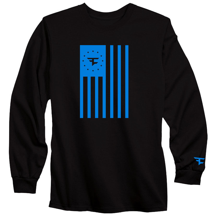 Flag Long Sleeve Tee - NBlu on Blk