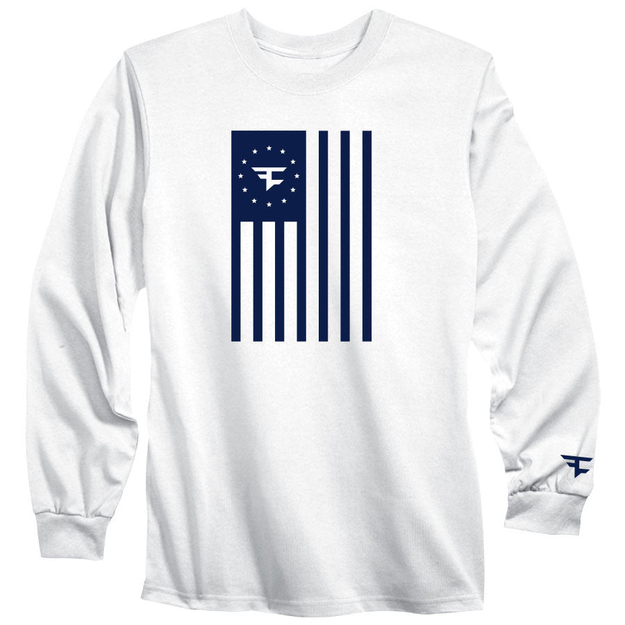Flag Long Sleeve Tee - Nvy on Wht