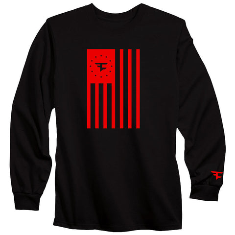 Flag Long Sleeve Tee - Red on Blk