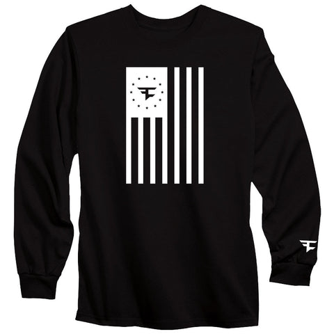 Flag Long Sleeve Tee - Wht on Blk