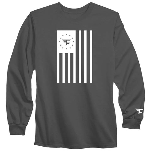 Flag Long Sleeve Tee - Wht on Chcl