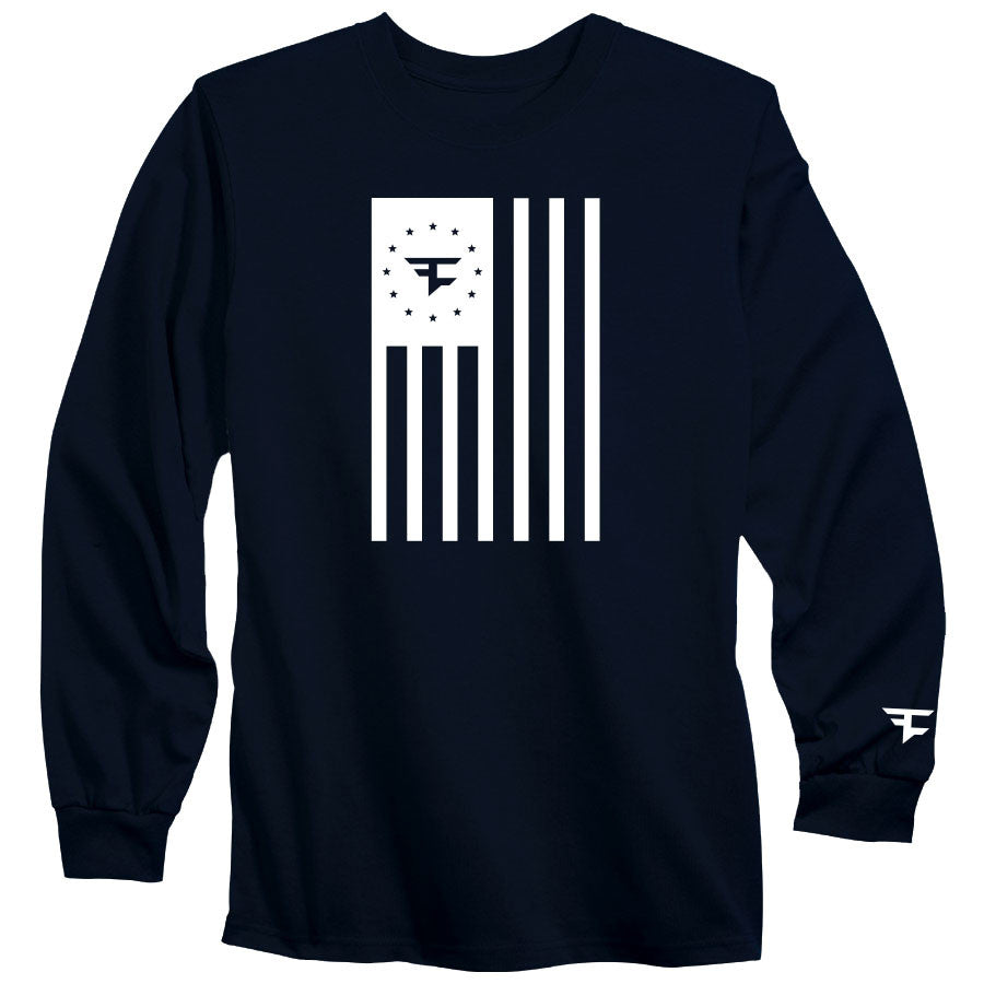Flag Long Sleeve Tee - Wht on Nvy