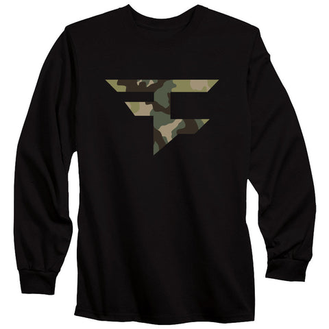 Iconic Long Sleeve Tee - Camo on Blk