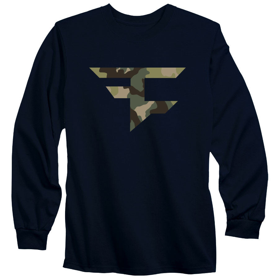 Iconic Long Sleeve Tee - Camo on Nvy