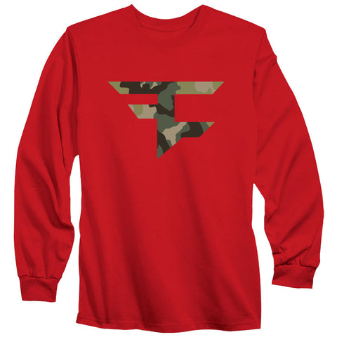 Iconic Long Sleeve Tee - Camo on Red