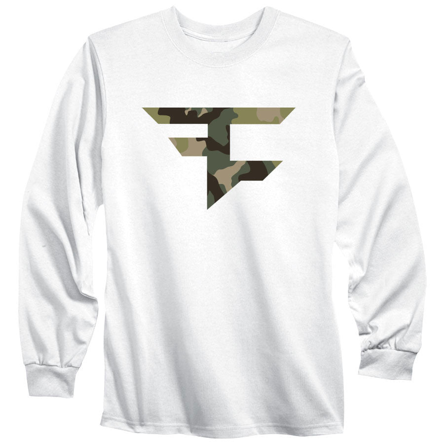 Iconic Long Sleeve Tee - Camo on Wht