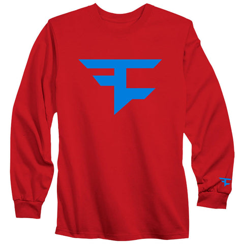 Iconic Long Sleeve Tee - NBlu on Red