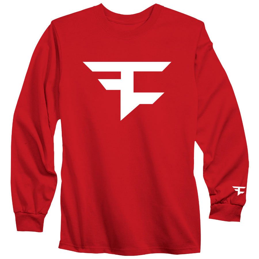 Iconic Long Sleeve Tee - Wht on Red