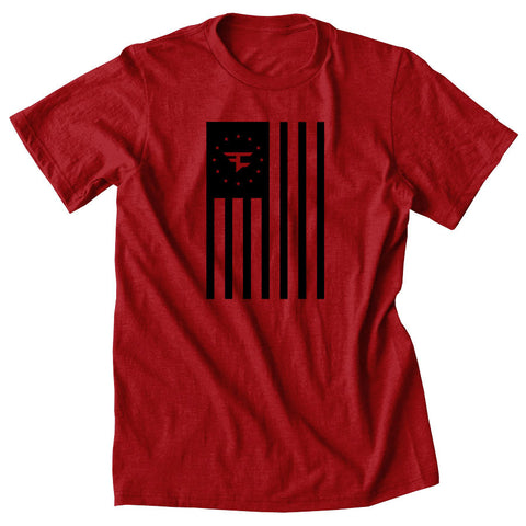 Flag Tee - Blk on Red