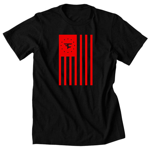 Flag Tee - Red on Blk