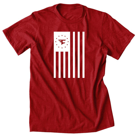Flag Tee - Wht on Red