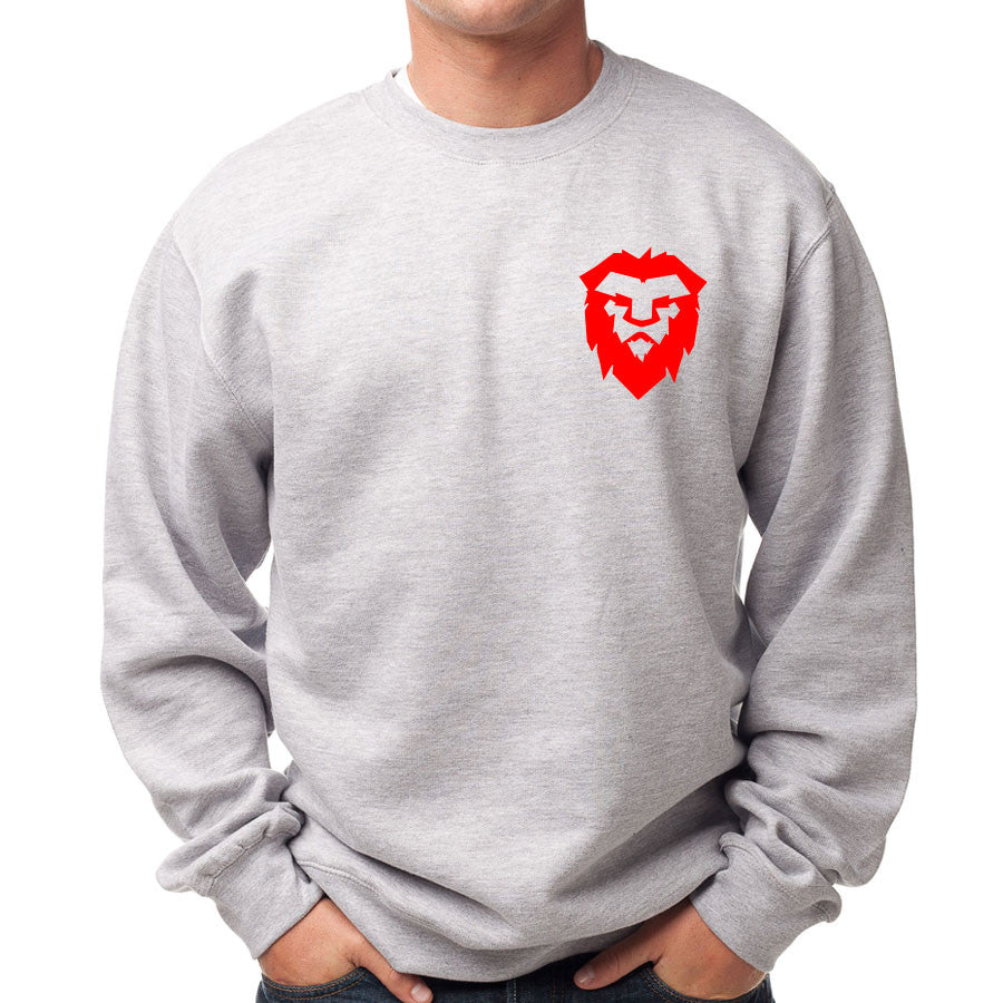 Temperrr Heart Crewneck - Red on SprtGry