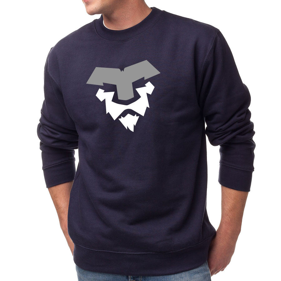 Temperrr Lion Crewneck - GryWht on Nvy