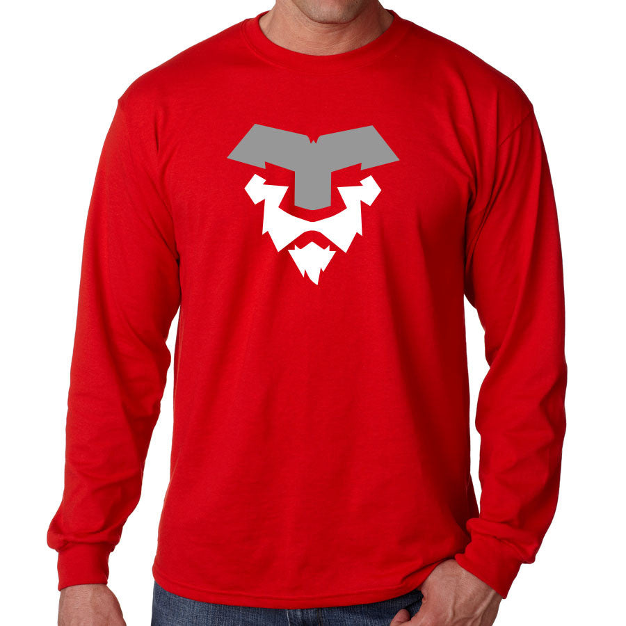 Temperrr Lion Long Sleeve - GryWht on Red