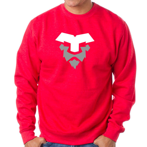 Temperrr Lion Crewneck - WhtGry on Red