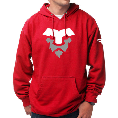 Temperrr Lion Hoodie - WhtGry on Red