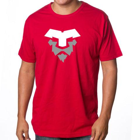 Temperrr Lion Short Sleeve - WhtGry on Red