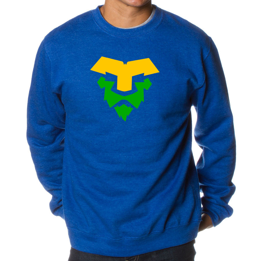 Temperrr Lion Crewneck - YelGrn on RylHthr