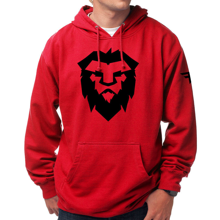 Temperrr Mane Hoodie - Blk on Red