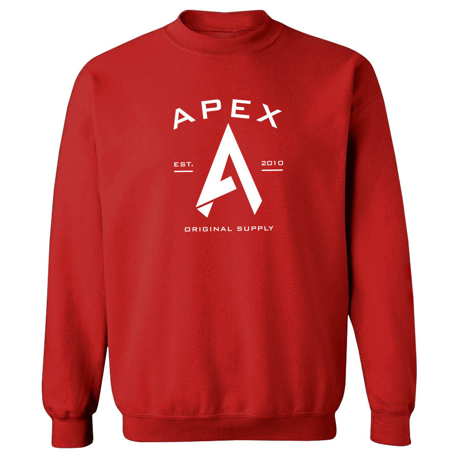 Apex Original Crewneck - Wht on Red