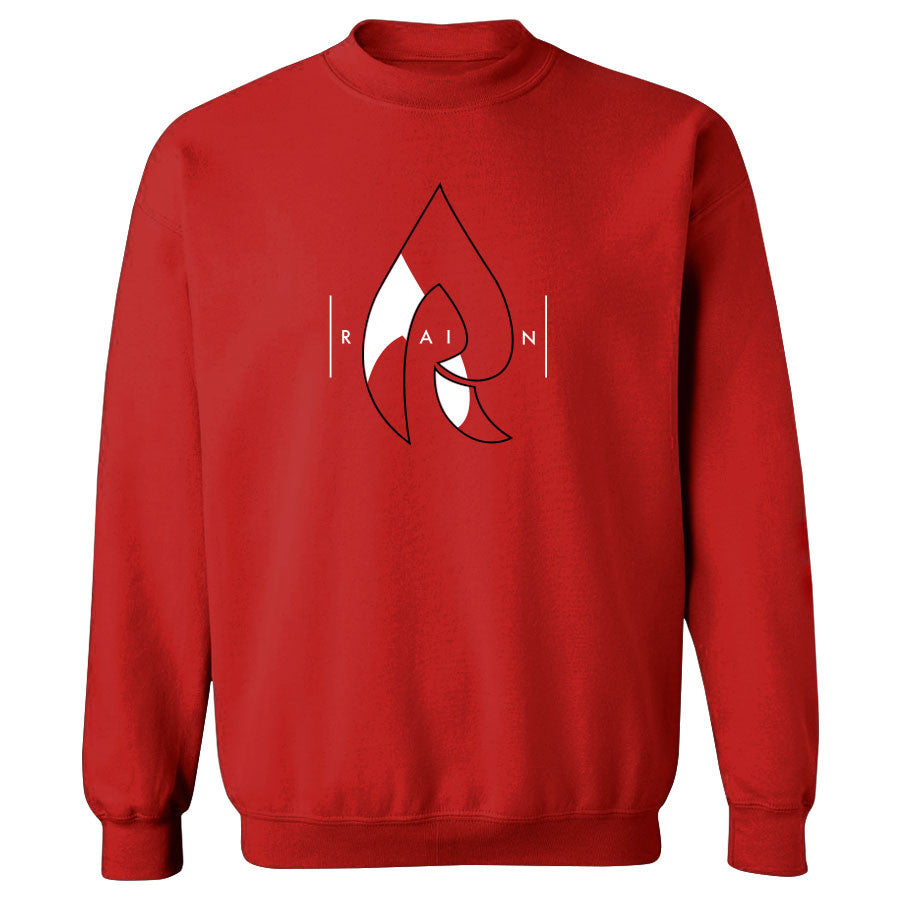 Rain Decay Crewneck - BlkWht on Red