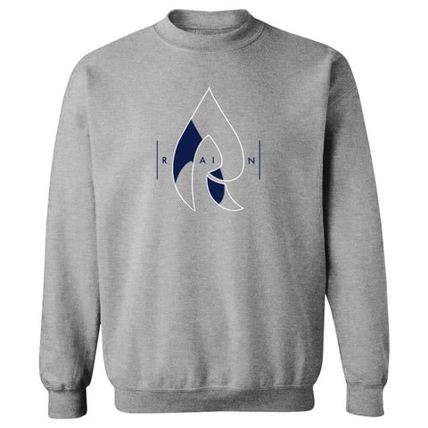 Rain Decay Crewneck - WhtNvy on SprtGry